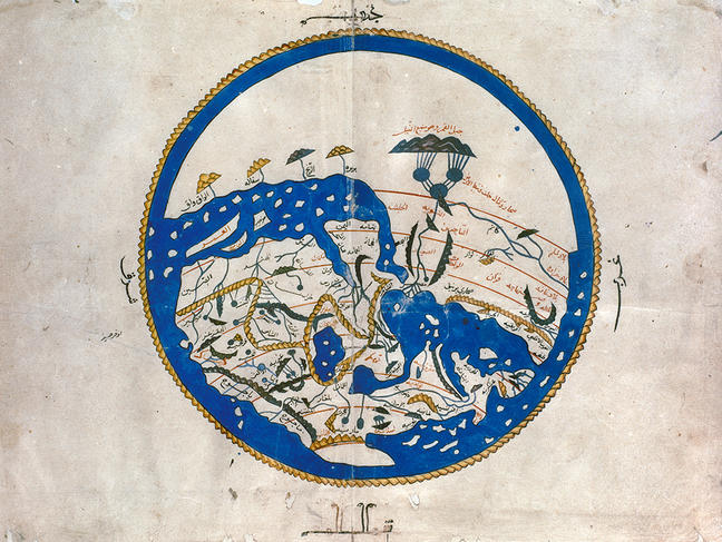 AL-IDRISI'S WORLD MAP Showing Arab lands at the top, 12th century.